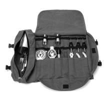 Bartender Kit Tote Bag, Large Barware Set Roll Bag, Cocktail Making Tool Set Bag, Portable Bar Case Bag, Cocktail Accessories Kit Roll Pouch,Multi-Funtion Barware Set Storage Case (Grey)