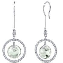 Circle of Life 8.00 Carats Green Amethyst Spherical Cut Dangle Earrings in Sterling Silver Rhodium Finish
