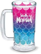 Tervis Mermaid Tail Insulated Tumbler with Wrap, 16oz Beer Mug, Clear