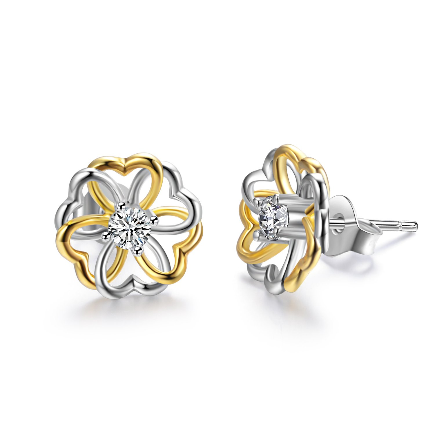 AOBOCO Sterling Silver Stud Earrings for Women, Crystals from Swarovski, My Little Garden of Love and Hope Series, Hypoallergenic Anniversary Birthday Jewelry Gifts for Lovely Ladies