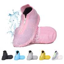 DREAMUS Reusable Silicone Waterproof Shoe Covers, Silicone Shoe Covers with Zipper No-Slip Silicone Rubber Shoe Cover for Kids,Men and Women