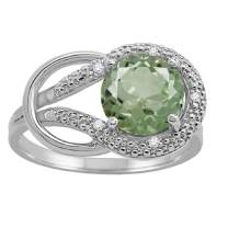 MauliJewels Rings for Women 1.83 Carat Green Amethyst and Diamond Love Knot Ring 4-prong 10K White Gold Gemstone Wedding Jewelry Collection