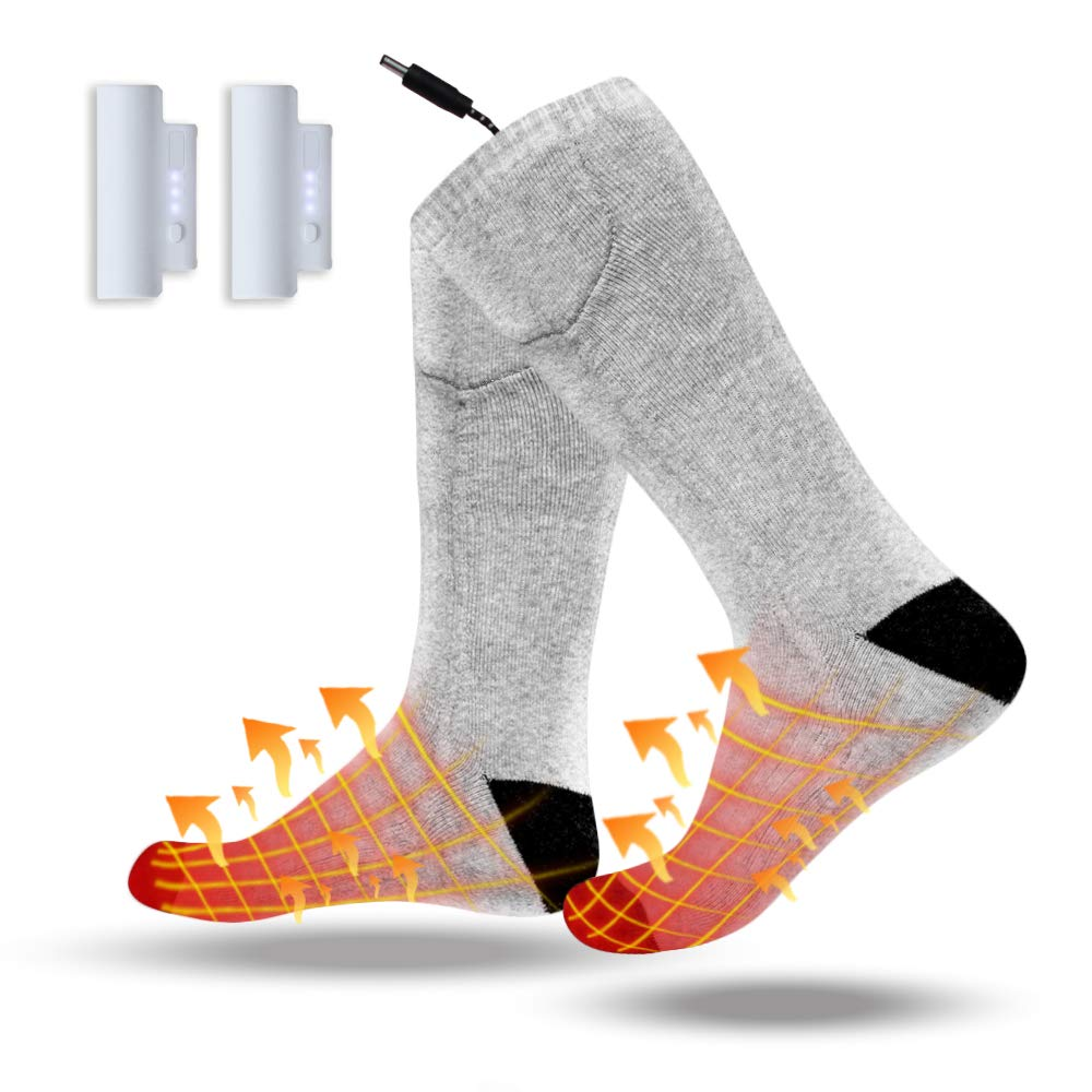 VALLEYWIND Heated Socks, Battery Socks Electric Foot Warmer Come with Rehargeable Lithium Battery Keep Forefoot and Toes Warm Heating Time Last 5 to 9 Hours for Winter Hunting Fishing