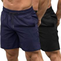 COOFANDY Men's 2 Pack Gym Workout Shorts Quick Dry Bodybuilding Weightlifting Pants Training Running Jogger with Pockets