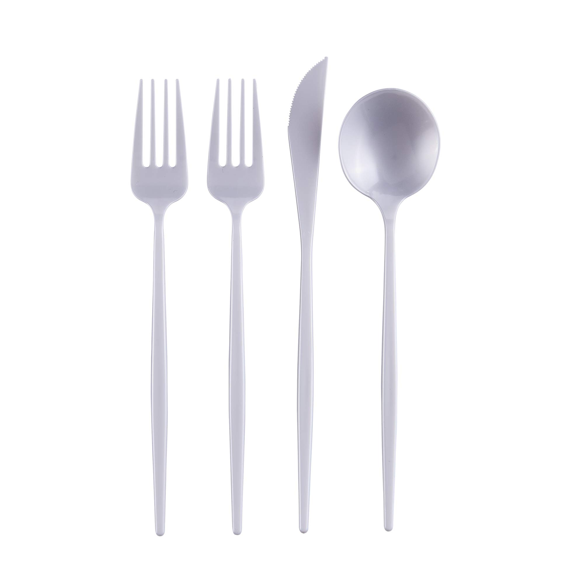 OPULENCE COLLECTION DISPOSABLE FLATWARE SET   Heavy Duty Plastic Cutlery   96 pc Set   48 Forks, 24 Knives and 24 Spoons   for Upscale Wedding and Dining (Pearl)