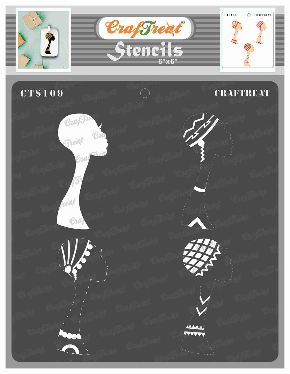 CrafTreat Tribal Stencils for Painting on Wood, Wall, Tile, Canvas, Paper, Fabric and Floor - Trendy Tribal Girl - 6x6 Inches - Reusable DIY Art and Craft Stencils - Women Face Stencil