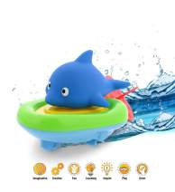 Dollibu Boat Racer Buddy, Fun Educational Bath Toy Finger Puppet Pull and Go Water Racing Sea Life Pal For Shower Pool Bathtub Swim Hard Surface - Baby Toddler and Boy - 6 Inch - 3 in 1 Game - Dolphin
