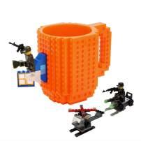 Build-on Brick Mug -Fubarbar 12 oz Coffee Cups Funny Tea Mug Beverage Cup Puzzle Mug Building Bricks enjoy Novelty Creative DIY Building Blocks Office Pen Cups (Orange)