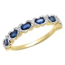 Dazzlingrock Collection 4X2 MM Each Marquise Gemstone & Round White Diamond Ladies Swirl Wedding Band, 14K Yellow Gold