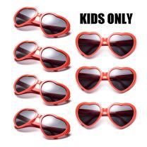 Neon Colors Party Favor Supplies Wholesale Heart Sunglasses for Kids (7 Pack Red)