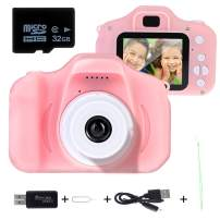 """Kids Digital Camera, 1080P 2.0"""" HD Screen Action Camera with Video Recorder and Kids Camera Gifts Toys for 3-12 Years Old Girls&Boys, Mini Children Cameras Camcorder with 32GB TF Card"""