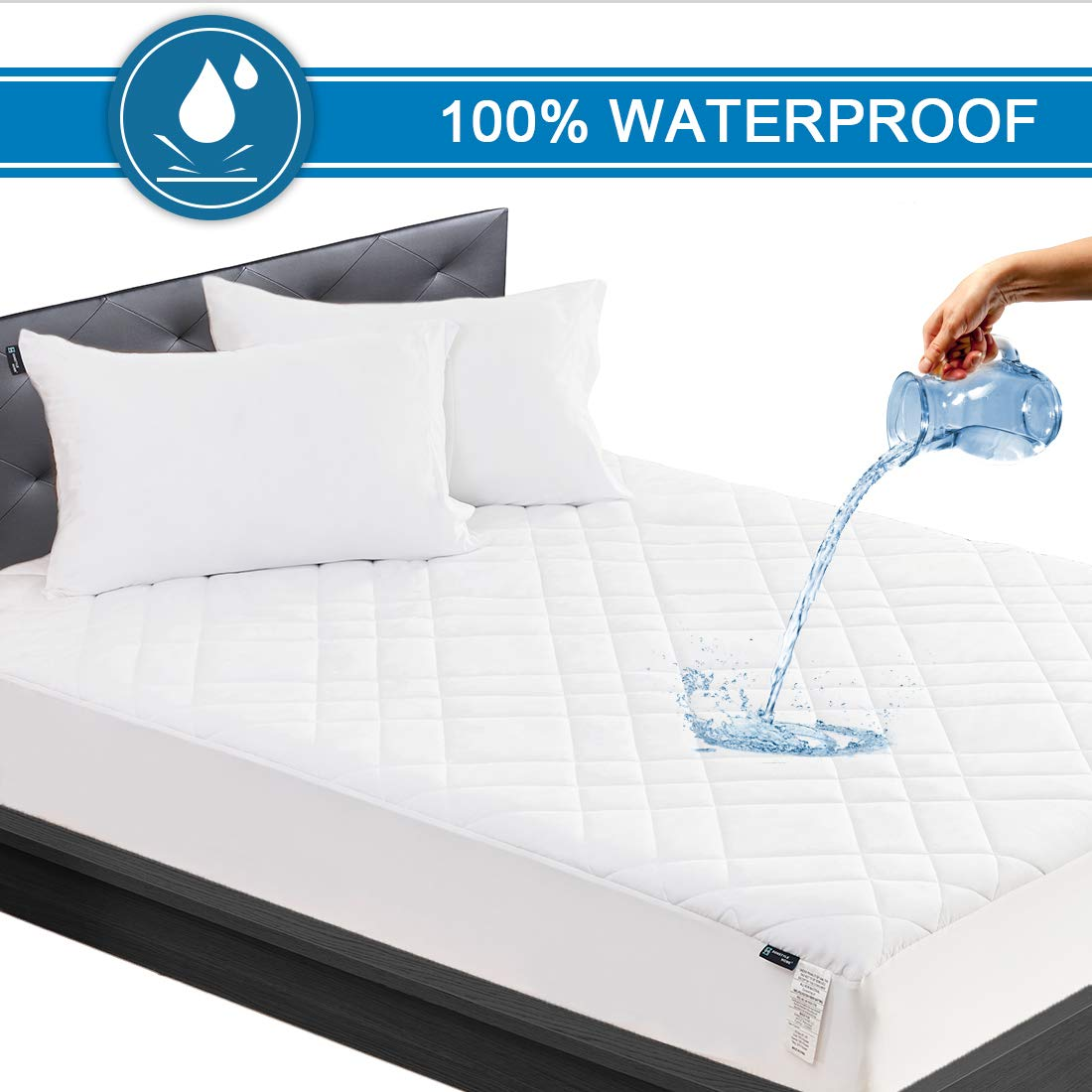 SunStyle Home Queen Size Quilted Fitted Mattress Pad Microfiber 100% Waterproof Mattress Protector Cover Stretches up to 16 Inches Deep, Soft Durable Breathable Noiseless Mattress Topper