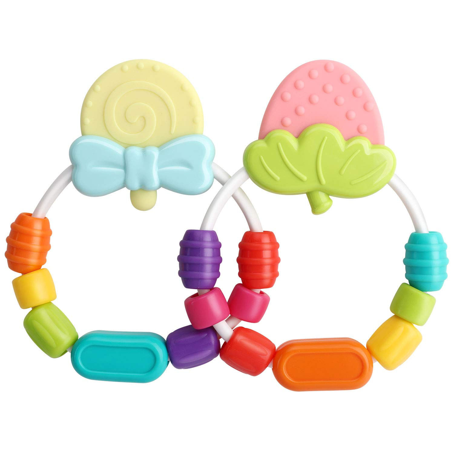 Zooawa Baby Soothing Teether Toy, [2 Pack] Soft and Soothing Rattle Lollipop & Strawberry Teething Toy, Easy to Hold, for 3-18 Month Infants