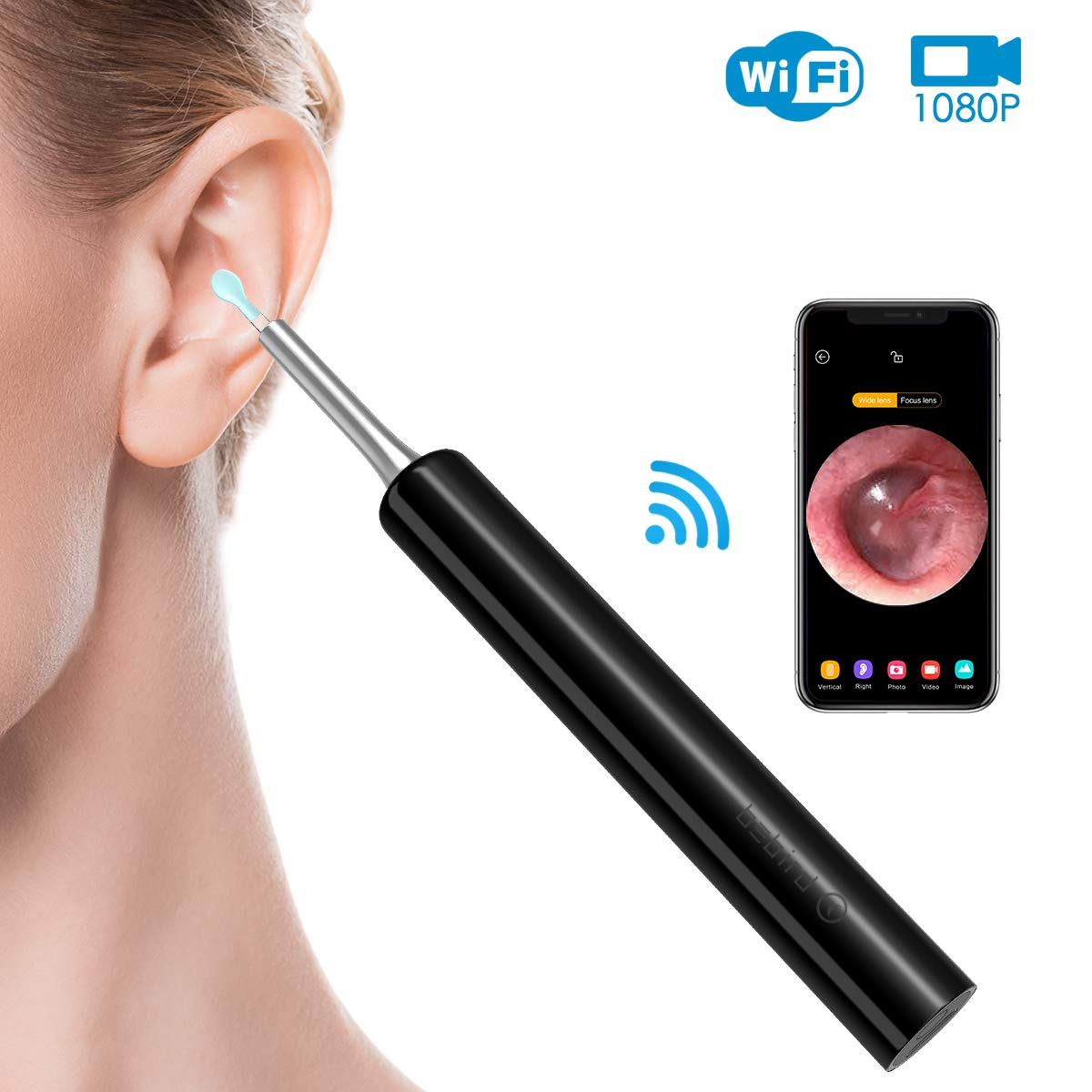 Wireless Digital Otoscope, LOFTer Upgraded 3.9mm 1080P FHD Ear Camera Set, Super Light Ear Wax Remover Tool with Temperature Control Chip, Compatible with Android iOS Smartphone and Tablet (Black)