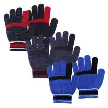 Magic stretch gloves Winter warm gripper 3 pairs Multi color set Kids size for Boys or Girls