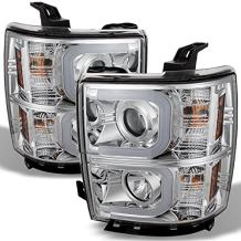 For Chevy Silverado Chrome Clear LED Daylight Light Tube Halo Design Projector Headlights Front Lamps