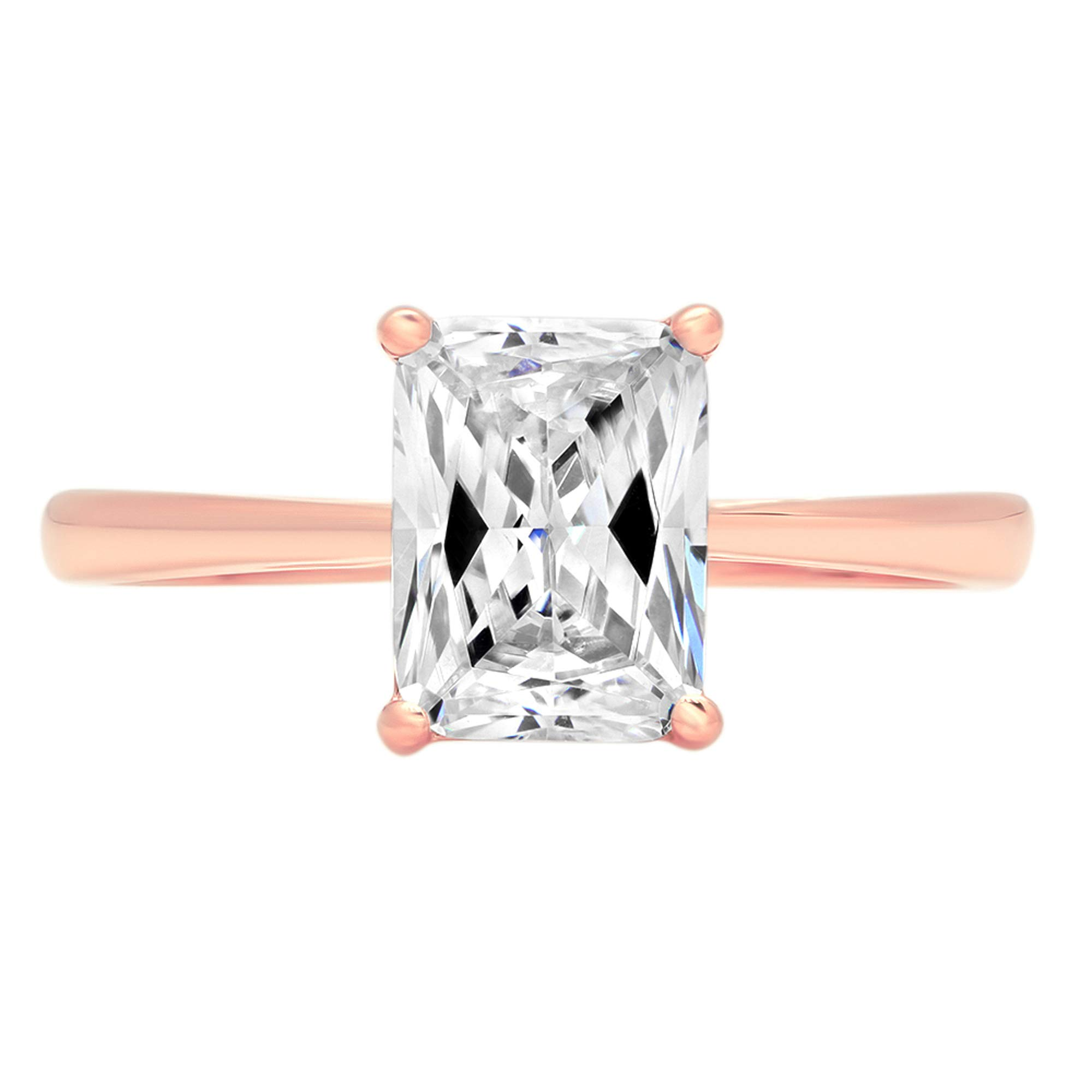 1.95ct Brilliant Emerald Cut Solitaire Highest Quality Lab Created White Sapphire Ideal VVS1 D 4-Prong Classic Designer Statement Ring Solid Real 14k Rose Gold for Women