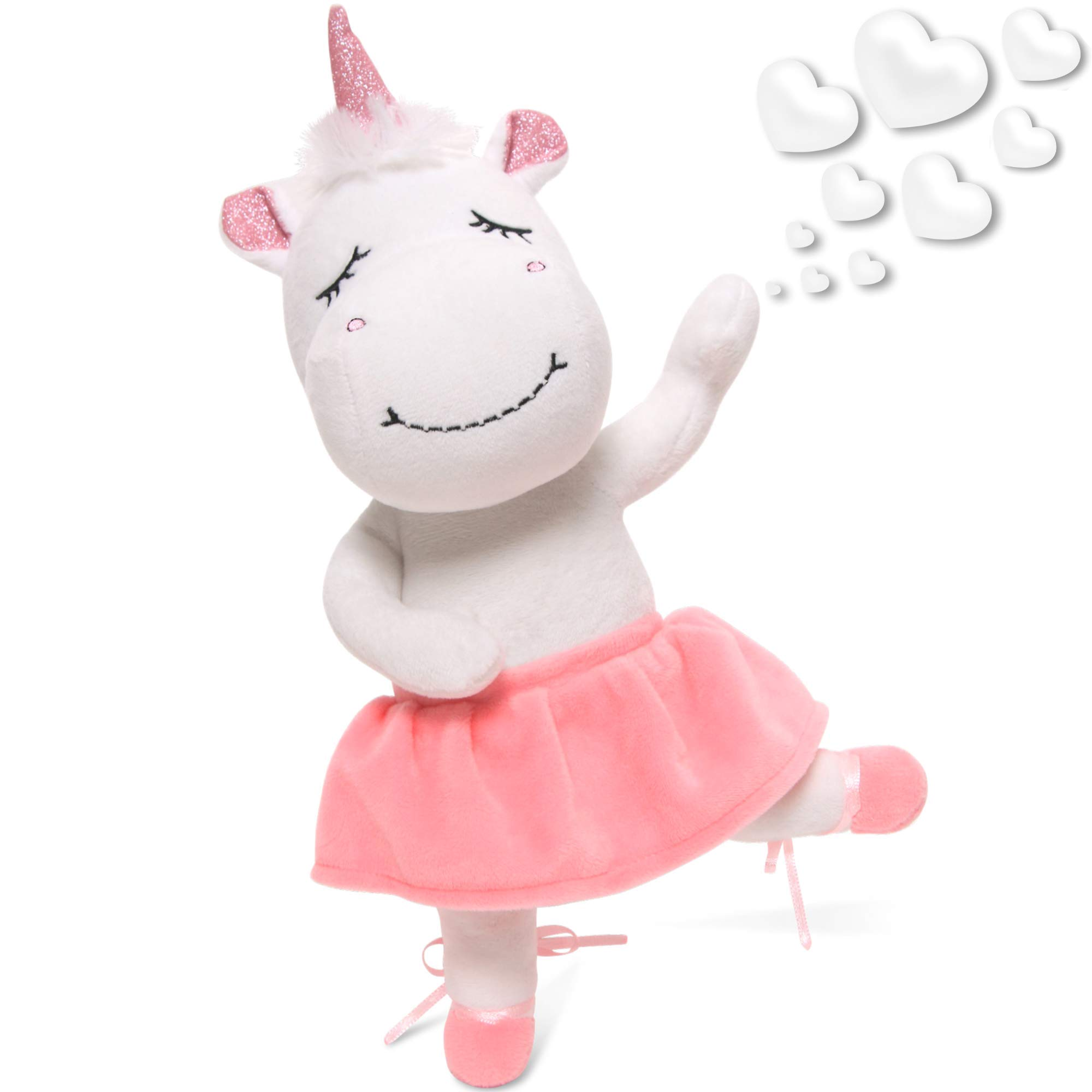 """Unicorn Stuffed Animal - Cute Posable Ballerina Unicorn Gifts Large 14"""" White & Pink Unicorn Plush Toy! Gift Packaged for Girls Birthday, Valentines or Graduation w eBook Included - by Marvs Store."""