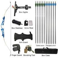 AMEYXGS Takedown Recurve Bow and Arrow Set,Draw Weight 12-28 Lbs,RightHand 66/68/70inch Bow for Archery Target Practice or Hunting Includes Bow Fittings and Archery Protective Gear