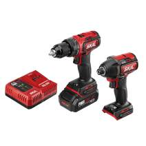 Skil 2-Tool Drill Combo Kit: PWRCore 20 Brushless 20V Cordless Drill Driver and 1/4 Inch Hex Impact Driver, Includes 2.0Ah Lithium Battery and PWRJump Charger - CB743701