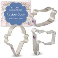 Ann Clark Cookie Cutters 3-Piece Summer Party Cookie Cutter Set with Recipe Booklet, Ice Cream Cone, Hot Dog and Flag