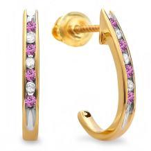 Dazzlingrock Collection 10K Ladies Fancy J Shaped Hoop Earrings, Yellow Gold