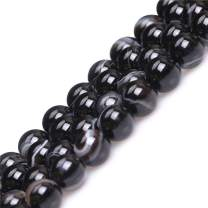 "8mm Stripe Black Agate Beads for Jewelry Making Natural Semi Precious Gemstone Round Strand 15"" JOE FOREMAN"