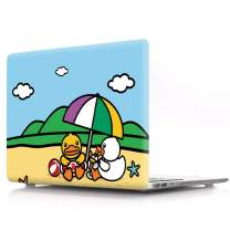 """HRH Yellow Duck on The Beach Print Design PC Laptop Body Shell Protective Hard Case for MacBook Air 13.3"""" (A1466/A1369) Not Compatible 2018 Newest Version A1932"""