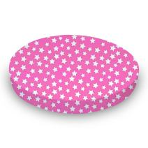 SheetWorld Round Crib Sheets - Primary Stars White On Pink Woven - Made In USA