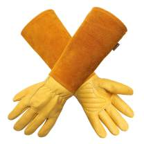 Gardening Gloves for Women/Men- Alomidds Rose Pruning Thorn & Cut Proof Elbow Length Durable Cowhide Leather Garden Work Gloves for Pruning Cacti Rose and Thorny Bushes (M, YELLOW)