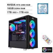 2020 NexiGo Quantum-Flux Gamer Liquid Cooled VR Ready RGB Gaming Computer (Intel 8-Core i7-9700K 3.6GHz up to 4.9GHz, RTX 2060 6GB GDDR5, 16GB DDR4 RAM, 1TB SSD (Boot) + 1TB HDD, WiFi, Windows 10)