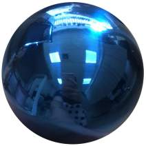 HomDSim 35cm/14inch Diameter Gazing Globe Mirror Ball,Blue Stainless Steel Polished Reflective Smooth Garden Sphere,Colorful and Shiny Addition to Any Garden or Home