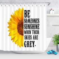 LB Bright Color Sunflower Shower Curtain Yellow Flowers with Motivation Quote Shower Curtain with Words on White Backdrop 72x72 Inch Polyester Fabric with 12 Hooks