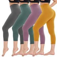 CAMPSNAIL Women High Waisted Capri Leggings - Soft Tummy Control Slimming Yoga Pants for Workout Athletic Reg & Plus Size