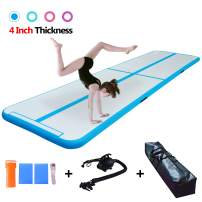 Modern-Depo 10ft/13ft/16ft/20ft Air Track Mat 4 Inches Thickness Inflatable Gymnastics Tumbling Mats with Electric Air Pump and Bag for Home Use/Exercises/Training/Water Sports