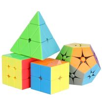 Coogam Stickerless Speed Cube Bundle, Set of 2x2, 3x3, Pyramid, 2x2 Megaminx Magic Cube Puzzle Toys 4 Pack for Boys and Girls Holiday Xmas Christmas Birthday Gift