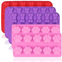 5 Pcs of Silicone Chocolate Candy Molds, AIFUDA Puppy Paw & Bone Non-stick Baking Molds Ice Cube Trays for Making Gumdrop Jelly Cake Muffin Cupcake - Pink, Purple, Red