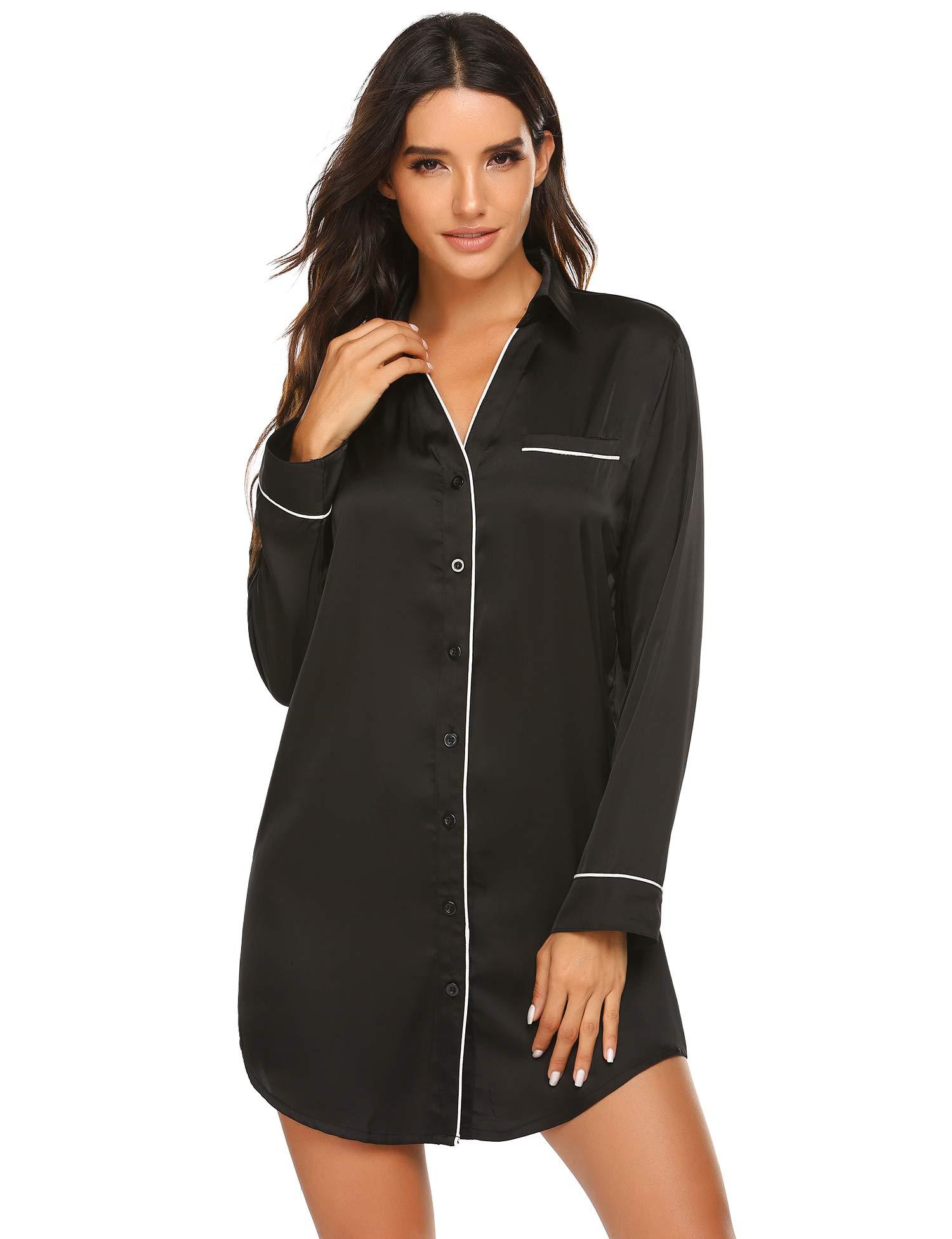 Ekouaer Sleepwear Long Sleeve Nightshirt Satin Sleepshirt Button Front Pajama Top for Women