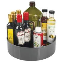"""mDesign Lazy Susan Turntable Food Storage Container for Cabinets, Pantry, Refrigerator, Countertops - Spinning Organizer for Spices, Condiments, Baking Supplies - 11.5"""" Round - Charcoal/Gray"""