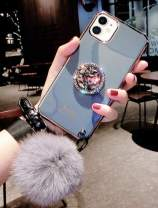 iPhone 11 Pro Cute Cover with Bling Stand,Lozeguyc iPhone 11 Pro Crystal TPU Case with Furry Ball iPhone 11 Pro 5.8 Inch Slim Pretty Fashion Shockproof Case for Girl Women-Gray Stand