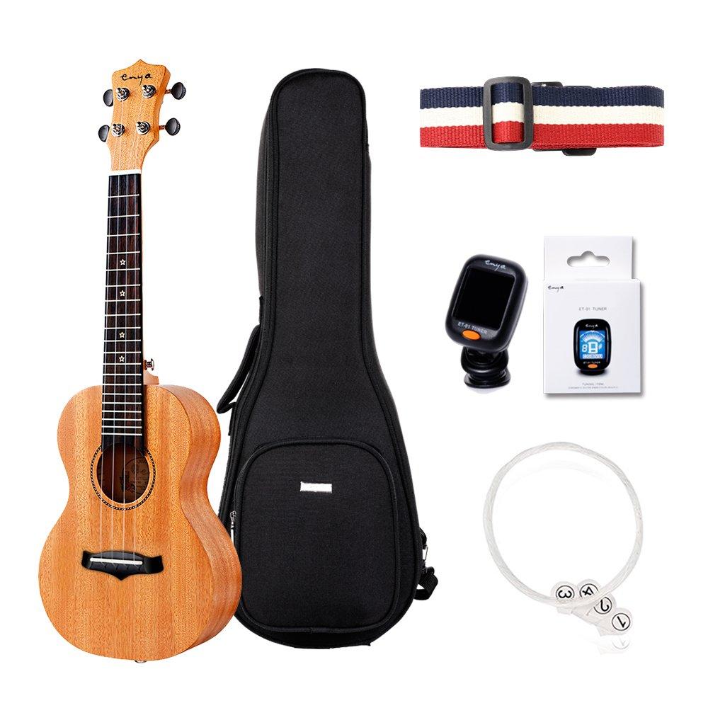 Enya Concert Solid Mahogany Ukulele KUC-25D set with gig bag tuner string strap for beginner, (KUC25D)