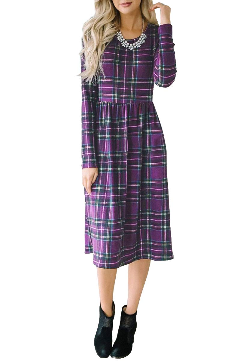 Geckatte Womens Plaid Dresses Fall Casual Long Sleeve Empire Waist Knee Length Dress with Pockets