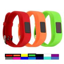 Dunfire Replacement Wristbands and Clip Cases for Garmin Vivofit 3 and Vivofit JR, Large Size and Small Size Bands, One Size Clip Case (#3PCS-RED&Orange&Green, Small for Kids)