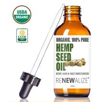 Organic HEMP SEED OIL Facial Moisturizer by Renewalize in LARGE 4 OZ. DARK GLASS BOTTLE | 100% Pure Cold Pressed and Unrefined | Great Daily Skin Moisturizer for Acne Prone Skin , Will Not Clog Pores