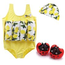 Vine Float Suit Toddler Floating Swimsuit Flotation Suit & Arm Bands & Swimming Cap for Girls 2-5 Years