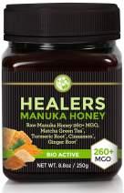 Manuka Honey With Healing Herbs MGO 260+ (NPA 10+) with Organic Matcha Green Tea, Organic Turmeric Root, Organic Cinnamon, Organic Ginger Root 8.8oz (250g) for Flus, Coughs and Colds