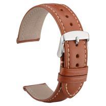 WOCCI Untextured Leather Watch Strap 18mm 20mm 22mm Watch Band Bracelet for Men Women