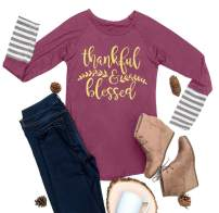 For G and PL Women's Thanksgiving Graphic Striped Long Sleeve Tops