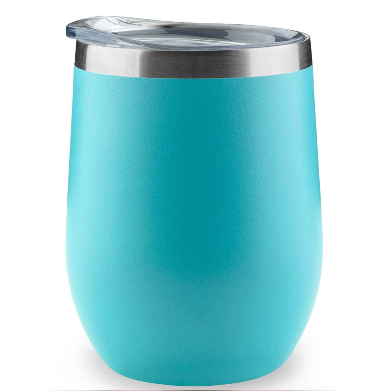 COMOOO Stainless Steel Wine Tumbler with Lid 12OZ-Double Wall Vacuum Insulated Travel Tumbler Cup for Coffee Wine Cocktails Ice Cream Cup With Lid (Blue, 1)