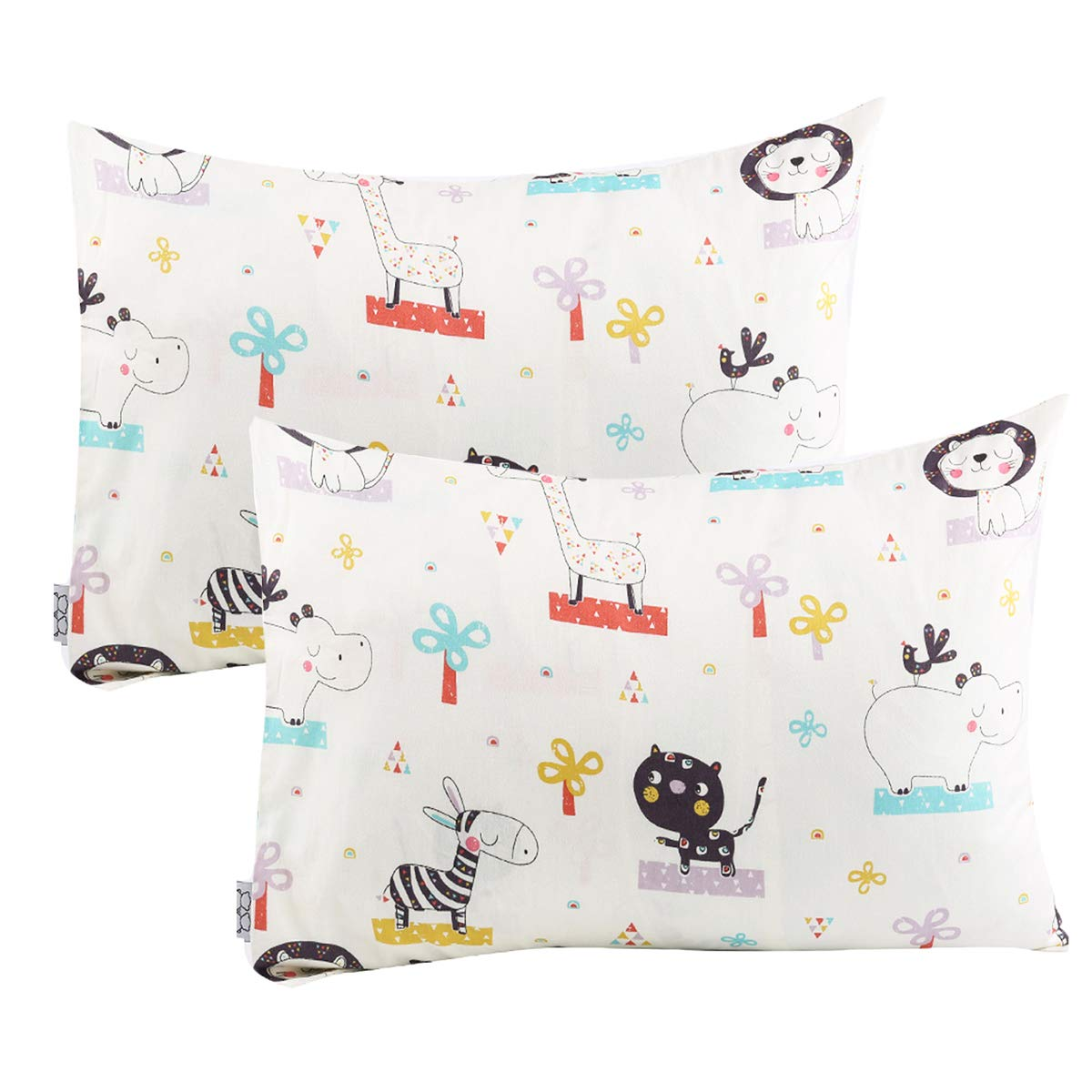 UOMNY Kids Toddler Pillowcases 2 Pack 100% Cotton Pillowslip Case Fits Pillows sizesd 13 x 18 or 12x 16 for Kids Bedding Pillow Cover Baby Pillow Cases Elephant/Cat